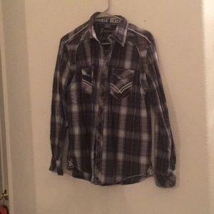 Men's plaid button shirt Buckle Black Label Medium